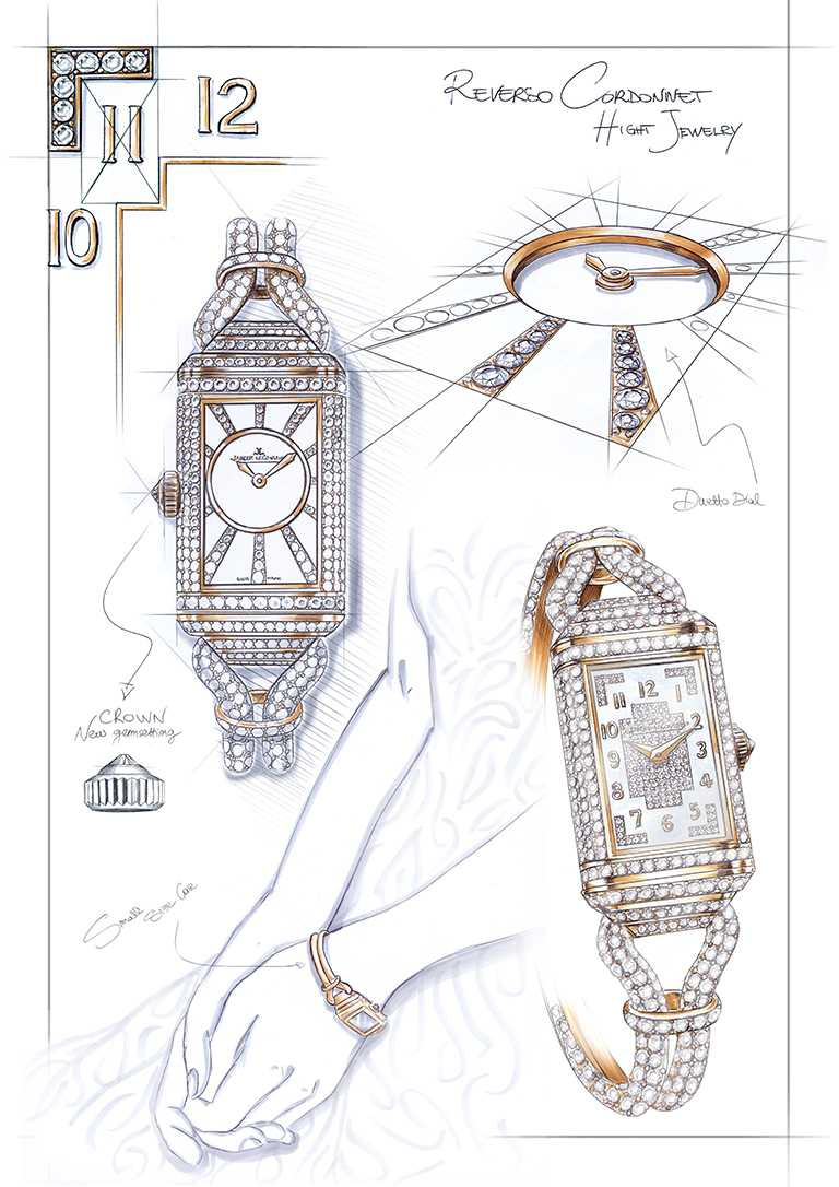 JAEGER-LECOULTRE「Reverso One Cordonnet Jewellery」翻轉系列珠寶腕錶,將柔軟的鑲鑽金質Cordonnet錶鍊,與全鑲鑽Duetto雙面錶殼融為一體。(圖╱JAEGER-LECOULTRE提供)