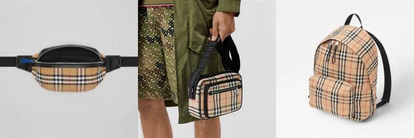 左為中型 Vintage 格紋接合棉質腰包23,900元,中為Vintage 格紋皮革斜背包28,900元,右為Vintage 格紋尼龍後背包36,900元。(圖片/Burberry提供)
