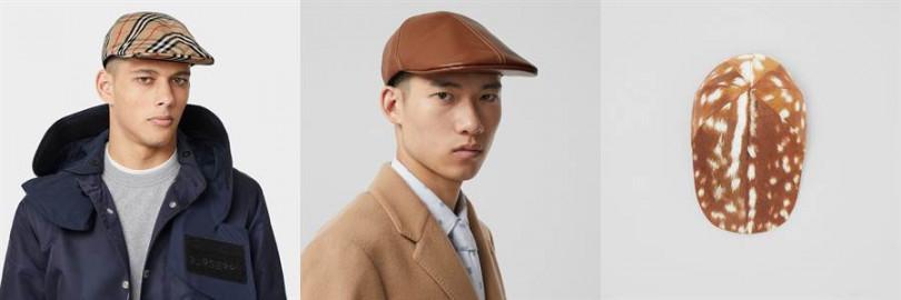 左為Vintage 格紋棉質平頂帽13,200元,中為羔羊皮平頂帽13,200元,右為鹿紋尼龍平頂帽13,200元。(圖片/Burberry提供)