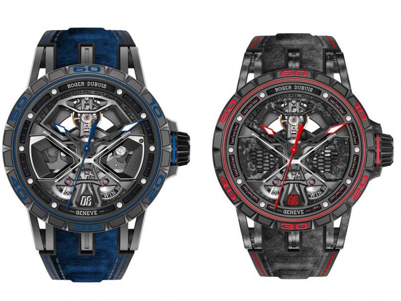 (左)Roger Dubuis「Excalibur Huracán」系列腕錶(藍色)╱1,520,000元;(右)Roger Dubuis「Excalibur Huracán Performante」系列腕錶(藍色),限量:88只╱1,860,000元(圖片提供╱Roger Dubuis)