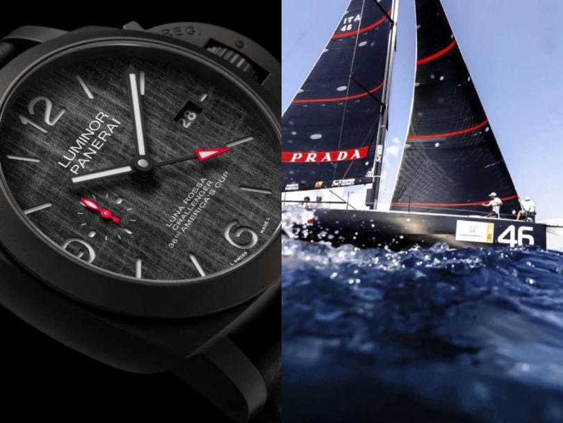(左)PANERAI「Luminor Luna Rossa」系列GMT兩地時間腕錶╱343,000元;(右)義大利Luna Rossa帆船賽隊(圖片提供╱PANERAI)