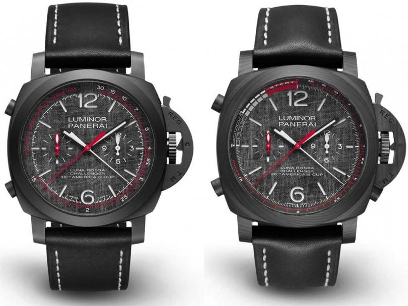 (左)PANERAI「Luminor Luna Rossa」系列Chrono Flyback飛返計時腕錶╱550,000元;(右)PANERAI「Luminor Luna Rossa」系列Regatta倒數計時腕錶╱741,000元(圖片提供╱PANERAI)