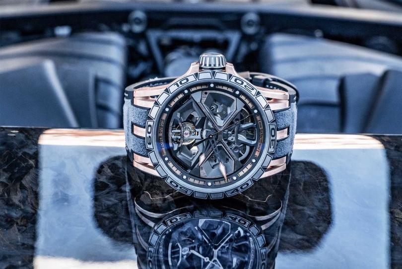 Roger Dubuis「Excalibur Huracán」系列腕錶(玫瑰金)╱2,220,000元(圖片提供╱Roger Dubuis)