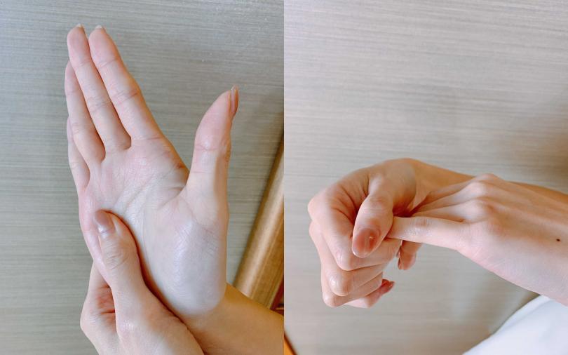 溫暖雙手的動作示範!除了懶人型的搓手之外,其實還可以再加上「外撥掌心伸展」、「包覆手指輕輕外拉加溫每隻手指」。(圖/吳雅鈴攝)