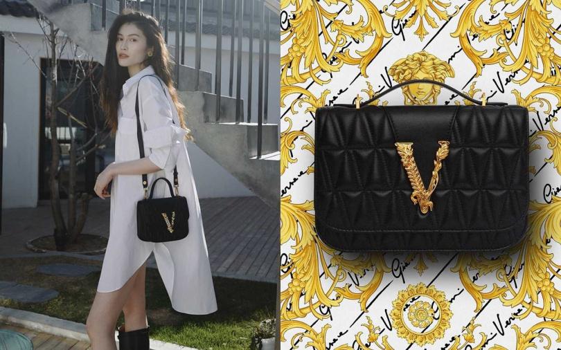 何穗身上背的同款包型>>Versace Virtus黑色羊皮絎縫V字裝飾單肩包/67,500元(圖/品牌提供)