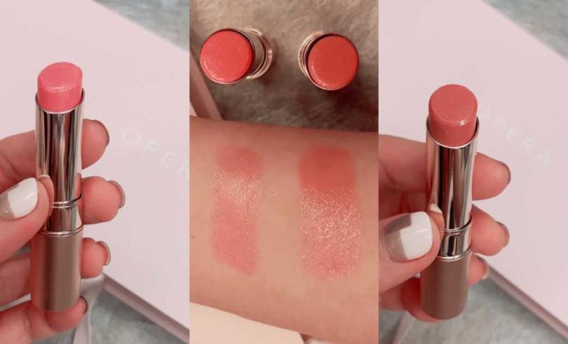 (左)#101光透粉:將帶點大人感的粉色揉進一點點的桃,低調的閃爍感散發出成熟又無邪的優雅特質。(右)#102光透米:跳脫傳統米色的平淡,帶點夏日冷色的粉米,將是今夏最時髦的冷淡風裸色,這兩色都是疊擦最佳美色。OPERA渲漾水色唇膏全8色 /380元,全台屈臣氏販售(圖/黃筱婷攝影)