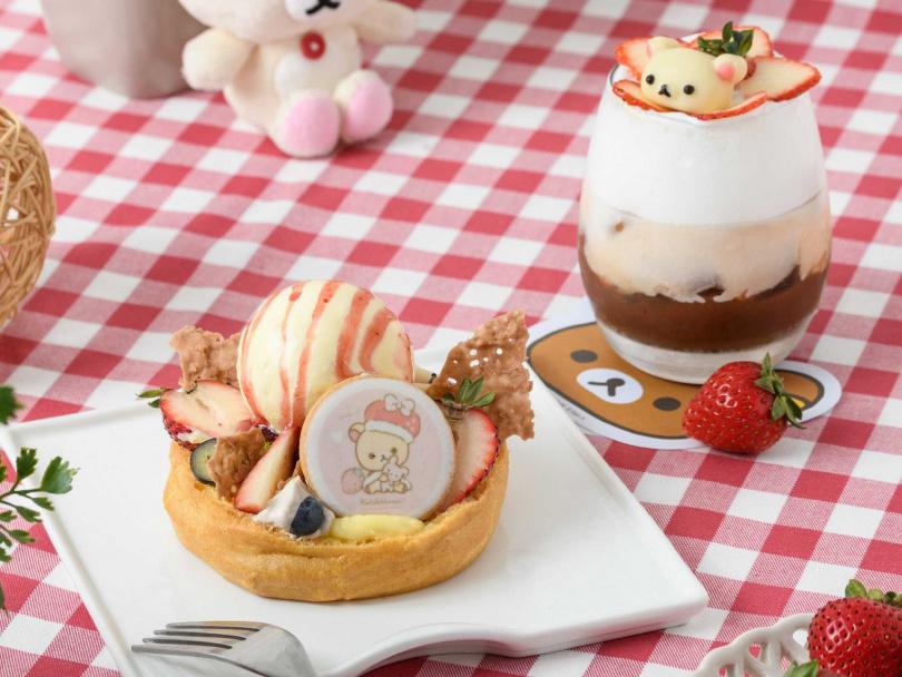 草莓聖代泡芙+小白熊草莓拿鐵。(圖/拉拉熊咖啡廳提供)