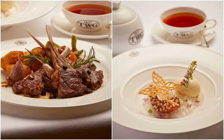 嫩煎紐西蘭羊小排(左)、香檳紅梨。(圖/TWG Tea提供)