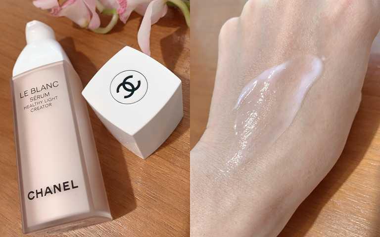 香奈兒珍珠光感淨白勻亮精華30ml/4,730元雖然是精華但不是過於水狀的質地,偏凝乳狀的膚觸,不只掃黑去黃,更可以把肌膚內的水分完全鎖住。(圖/吳雅鈴攝影)