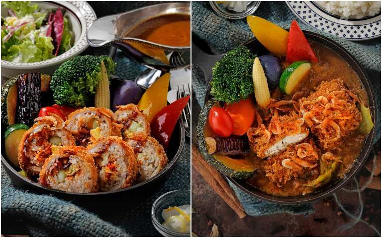 酥炸櫻花蝦魚排咖哩(左)、酥炸櫻花蝦壽司豬肉捲。(圖/泰迪農園咖哩提供)
