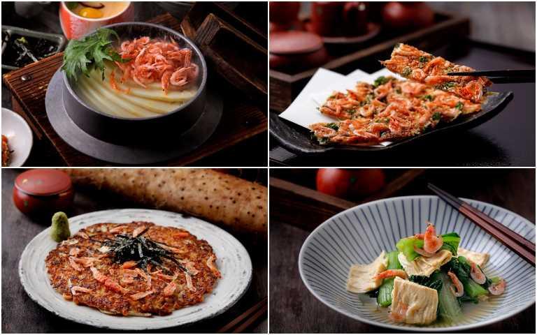 櫻花蝦釜飯套餐(左上起順時針)、櫻花蝦芝麻起司餅、櫻花蝦山藥煎餅、櫻花蝦有機春野菜。(圖/鳥丈爐端燒提供)
