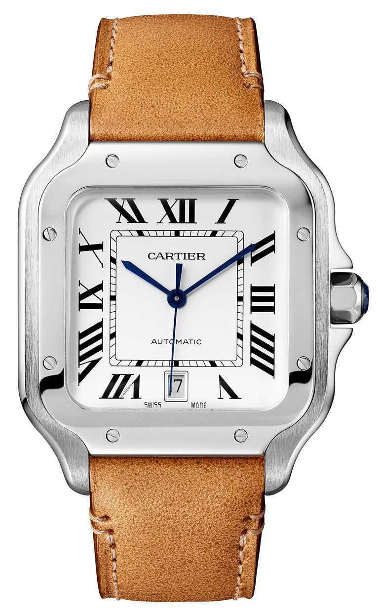 Cartier「Santos de Cartier」腕錶,大型鍊帶款╱220,000元。(圖╱Cartier提供)