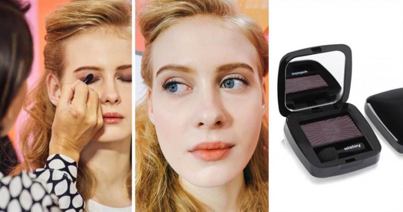 Hanya老師用來打眼窩的眼影是sisley新推出的植物光感保養眼影,色號#22的迷人咖啡紫色。(圖/品牌提供、記者攝影)