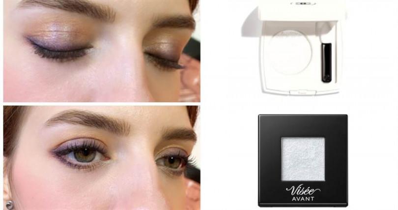記得用來打亮眼頭的銀色眼影要選珠光粒子纖細的款式,太過大顆的亮片反而會變俗氣。CHANEL璀璨聚光眼影 #317 1.8g/1,310元、VISEE AVANT隨心玩美眼影 #05/230元、(圖/記者攝影、品牌提供)