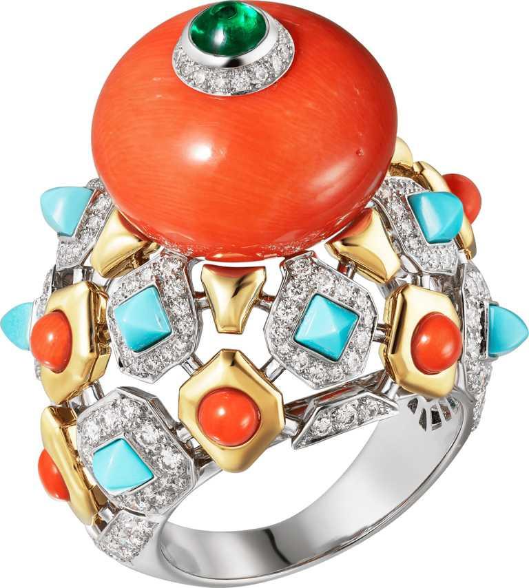 Cartier「MAGNITUDE」頂級珠寶系列,「FARANDA」珊瑚戒指╱6,600,000元。(圖╱Cartier提供)