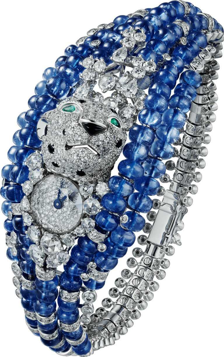 Cartier「L'AVENTUREUSE冒險的」美洲豹藍寶石頂級珠寶腕錶╱26,700,000元。(圖╱Cartier提供)