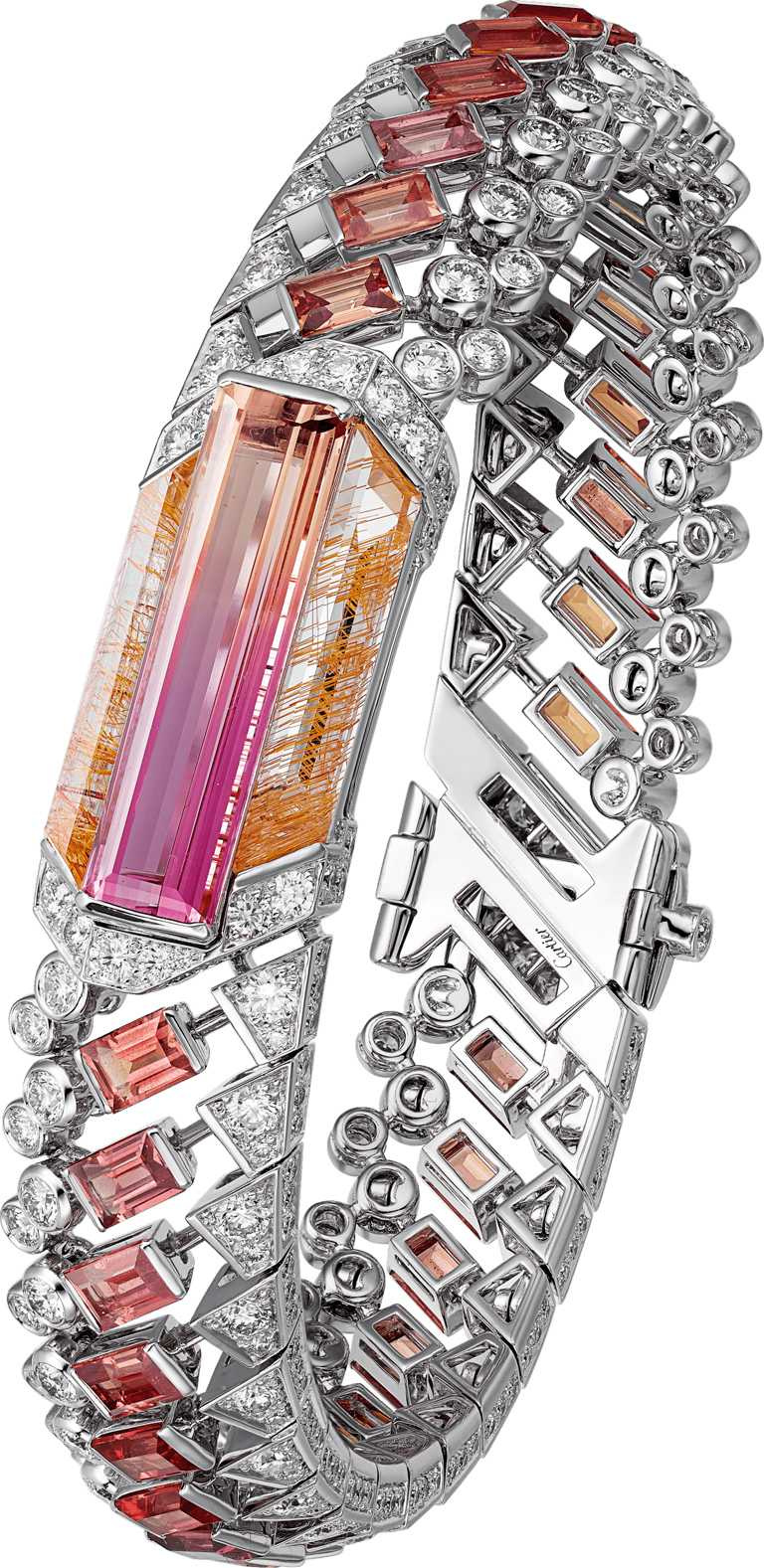 Cartier「MAGNITUDE」頂級珠寶系列「MAUNA」雙色帝王托帕石手環╱14,600,000元。(圖╱Cartier提供)