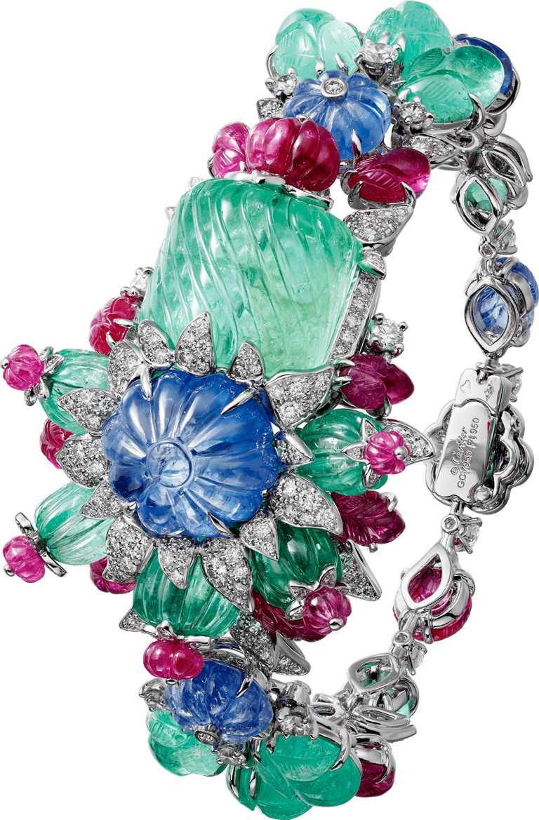 Cartier「TUTTI FRUTTI」系列,「NARBADA」手環╱26,700,000元。(圖╱Cartier提供)