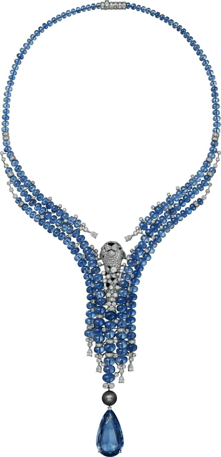 Cartier「L'AVENTUREUSE冒險的」美洲豹藍寶石項鍊╱61,000,000元。(圖╱Cartier提供)
