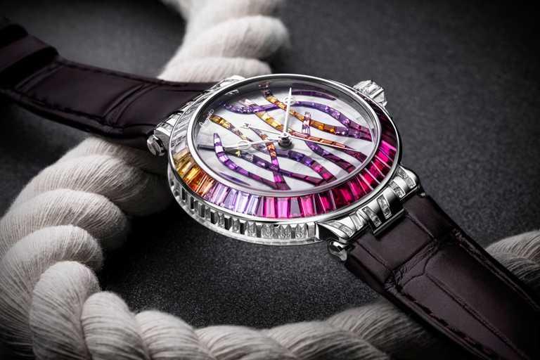 BREGUET「Marine Haute Joaillerie 9509 Poseidonia」航海系列高級珠寶腕錶,紅寶石款,35.8mm╱8,257,000元。(圖╱BREGUET提供)