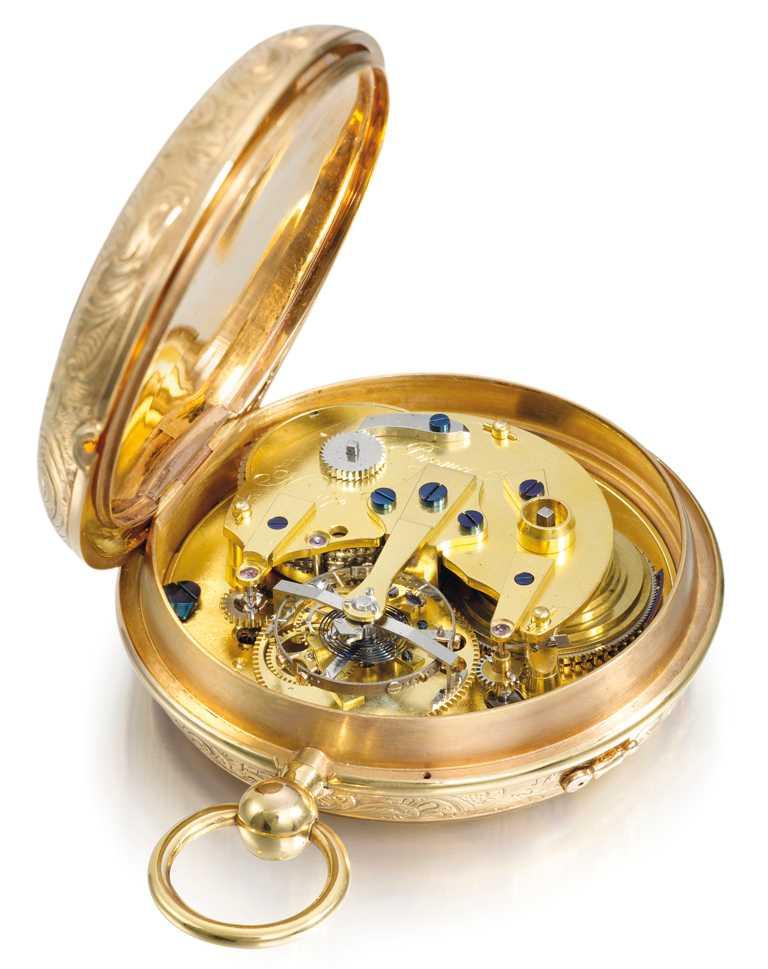 BREGUET「N°1176陀飛輪懷錶」,可看見寶璣招牌的陀飛輪設計。(圖╱BREGUET提供)