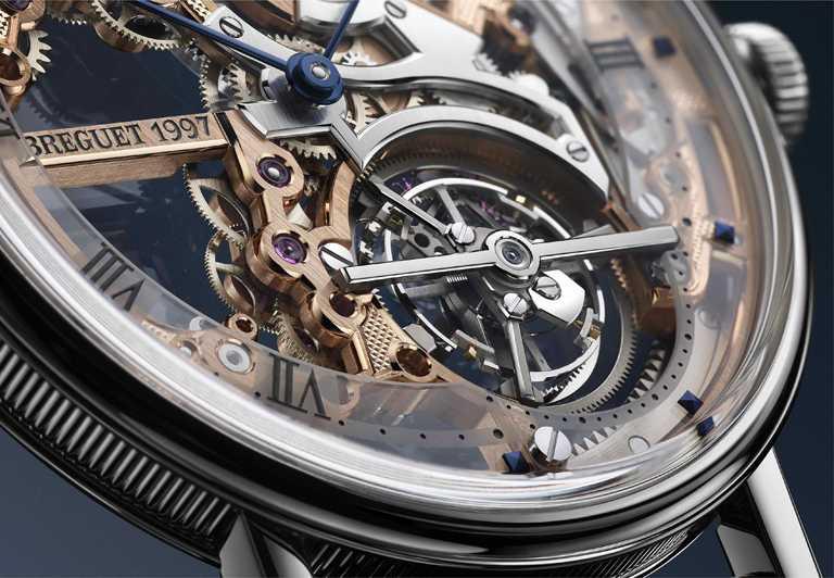 BREGUET「Classique Tourbillon Extra-Plat Squelette 5395」經典系列超薄鏤空陀飛輪鉑金腕錶,鉑金款式陀飛輪。(圖╱BREGUET提供)