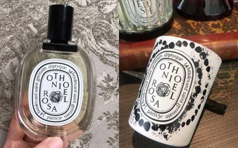 diptyque奧索尼爾玫瑰淡香水、香氛蠟燭。(圖/黃筱婷攝影)