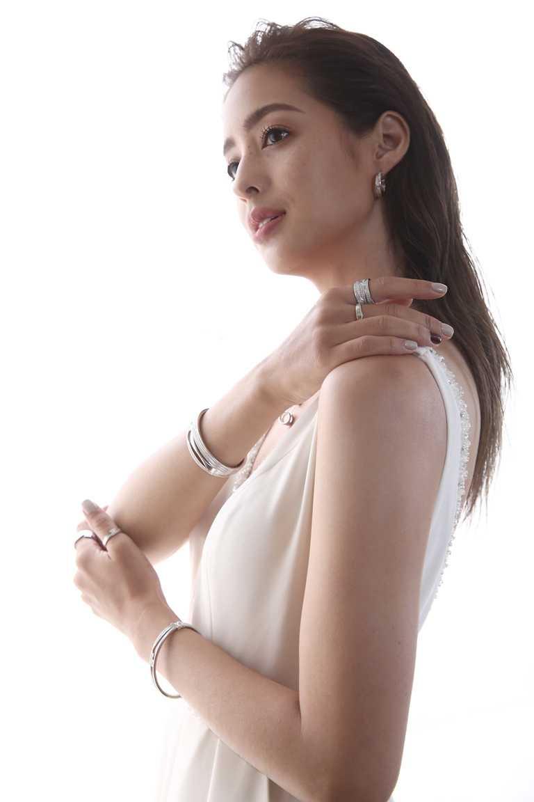 時尚女星莫允雯,優雅演繹喬治傑生「FUSION」系列20週年限量訂製珠寶新品。(圖╱GEORG JENSEN提供)