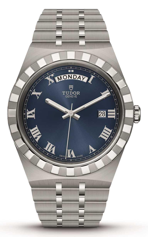 TUDOR「Royal皇家系列」腕錶╱316L不鏽鋼錶殼,精鋼錶帶,藍色錶面款,41mm╱73,500元。(圖╱TUDOR提供)