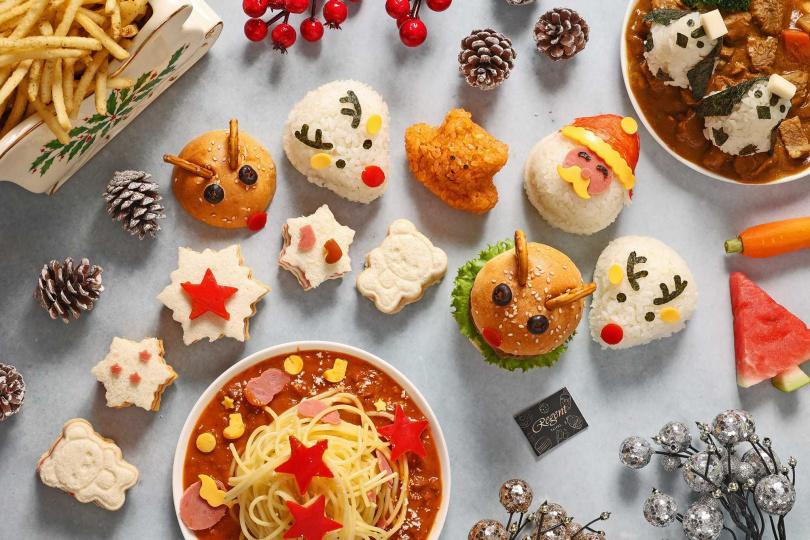 「聖誕寶貝歡樂餐」包含義大利麵、咖哩飯、三明治和漢堡等五款兒童餐點。