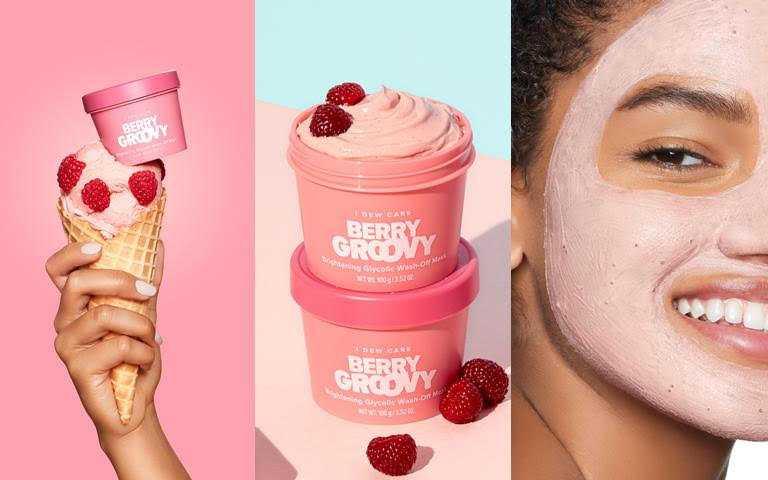 I DEW CARE美莓冰淇淋亮亮面膜100g/700元甜甜莓果冰淇淋味道。可有效打擊臉部暗沉,和被生活壓得垮垮的倦容說BYE BYE。(圖/品牌提供)