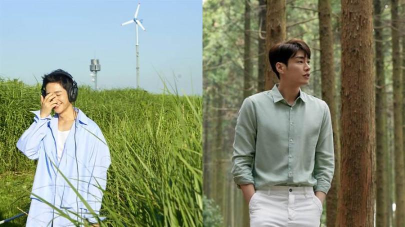 有別於台灣男生喜愛的黑、深藍,韓國男生十分擅長以淺色上衣搭配。(圖片來源:翻攝自藝人IG)