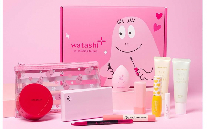 watashi+泡泡先生聯名美妝盒(美妝品8選5)/1,290元  太有少女心的粉紅泡泡先生,保證就算是大女生也會喜歡>///<。(圖/品牌提供)