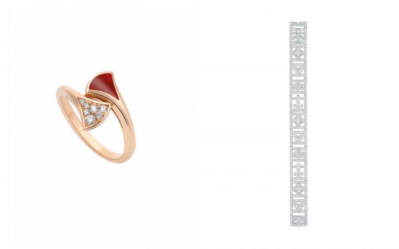編輯推薦這樣搭:(左)BVLGARI Divas' Dream系列玫瑰金紅玉髓鑲鑽戒指/63,400元、(右) LOUIS VUITTON 全新高級珠寶Riders of the Knights 中古騎士系列手鍊。