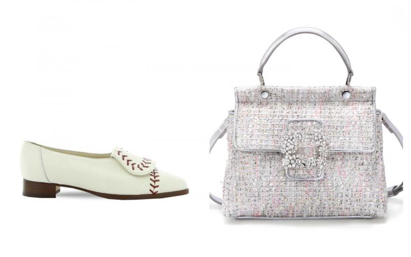 (左)Manolo Blahnik  MEDID-CALF-WHITE鞋款(右) Roger Vivier- Viv' Cabas 花鑽方扣裝飾手提肩背包/118,200元。