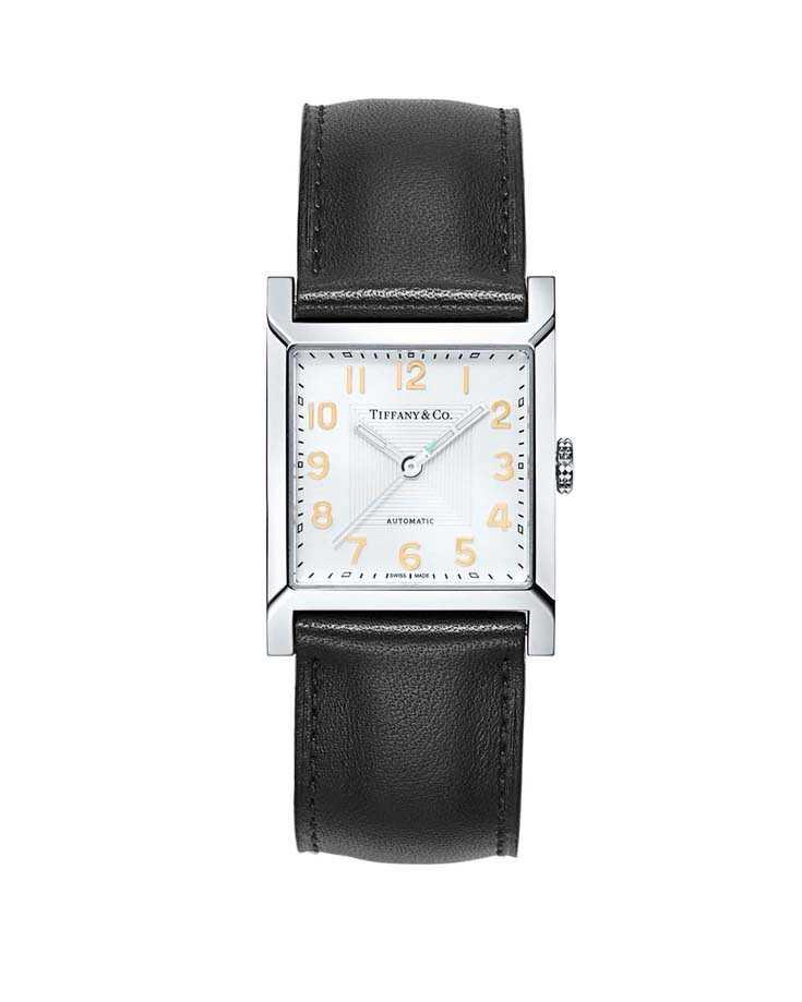 TIFFANY & CO.「Tiffany 1837 Makers系列」方形皮革錶帶腕錶╱99,000元(圖╱TIFFANY & CO.提供)