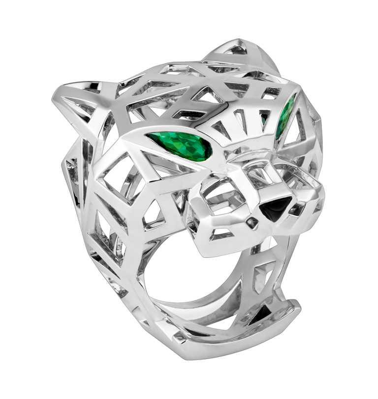 Cartier「Panthère de Cartier美洲豹」白金鏤空戒指╱660,000元(圖╱Cartier提供)