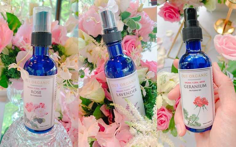 OUI ORGANIC純露花水可分為舒緩保濕的「玫瑰純露花水」、緊緻毛孔的「薰衣草純露花水」、調理敏感不適膚況的「天竺葵純露花水」。(圖/吳雅鈴攝影)