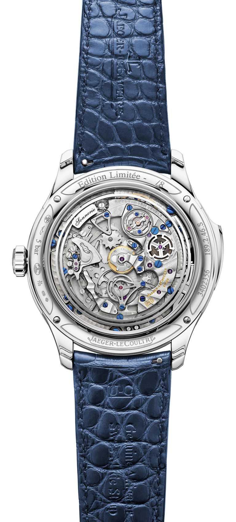 JAEGER-LECOULTRE「Master Grande Tradition超卓傳統大師系列」腕錶╱白金錶殼,45mm,鑽石44顆,限量8只╱14,500,000元。(圖╱JAEGER-LECOULTRE提供)