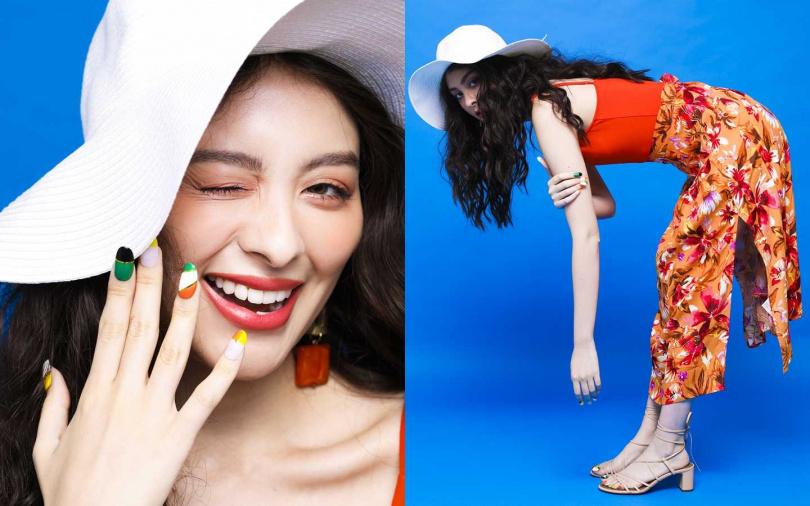 H&M橘色細肩帶連身裝/999元、H&M花朵裙/699元、H&M綁帶涼鞋/1,999元、H&M白色寬沿帽/399元、H&M橘色金屬方型耳環/價格未定(圖/戴世平攝)