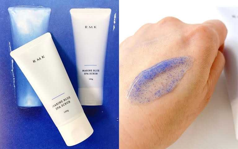 RMK海藍SPA潔顏冰砂100g/1,300元從視覺到嗅覺全都好有療癒感。(圖/IG@maquia.magazine)