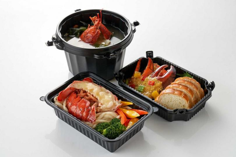 「波士頓龍蝦三重奏」內含「泰式咖哩龍蝦鉗」、「奶油龍蝦烏龍麵」和「龍蝦味噌湯」。