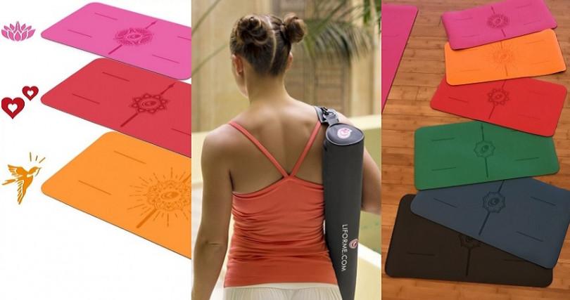 Liforme Yoga Pad感恩系列-迷你限定版/2,600元,左圖新款式:迷你珍愛墊(紅色)/迷你快樂墊(亮麗橘)/迷你感恩墊(桃紅),最右邊是全系列顏色。(圖/品牌提供)