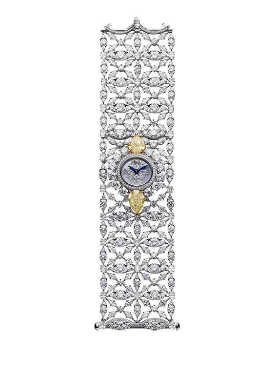 紅地毯系列鑽錶,鑲嵌2顆8.47克拉梨形切割黃鑽,定價:28,717,000元。(圖/Chopard提供)
