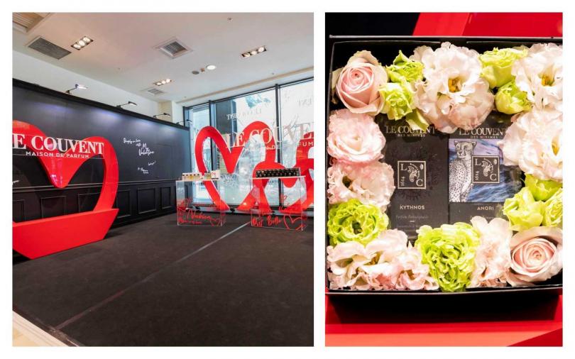 LE COUVENT洛蔻芳情人節快閃店即日起至2月26日在新光三越信義新天地A8一樓登場,現場設有可以表達愛意的訊息塗鴉牆,右為情人節預購禮盒。(圖/品牌提供)