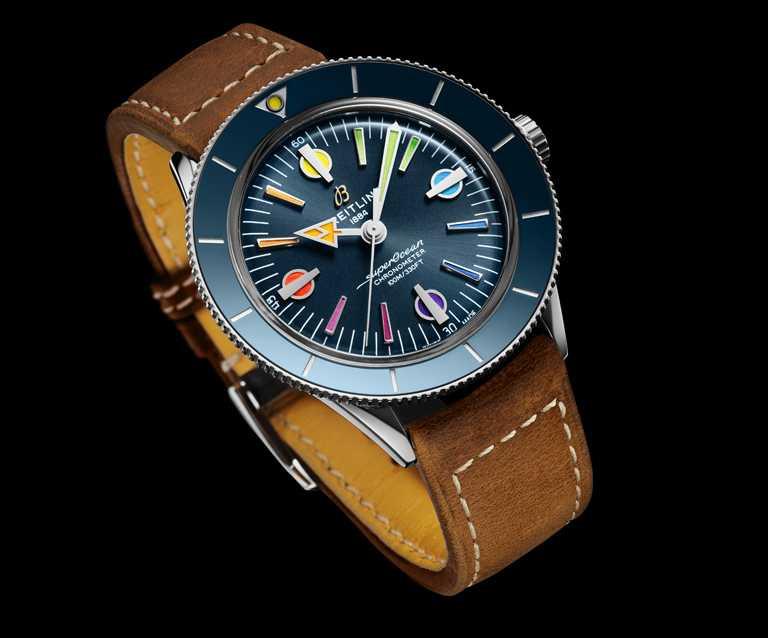 BREITLING「Superocean Heritage '57超級海洋文化」限量版腕錶第二代,精鋼錶殼,42mm,限量1,000只,皮革錶帶╱134,000元。(圖╱BREITLING提供)