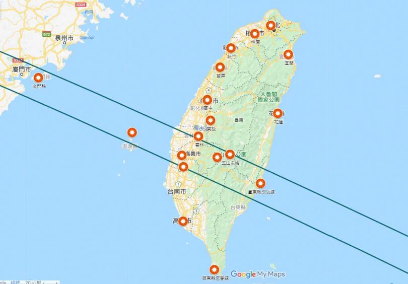 最佳觀日點是由北緯23.5度上下50公里。(圖/臺北市立天文科學教育館)