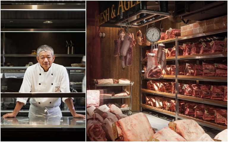 「牛排教父」陳重光與他的乾式熟成室。(圖/Fresh & Aged美福乾式熟成牛排館提供)