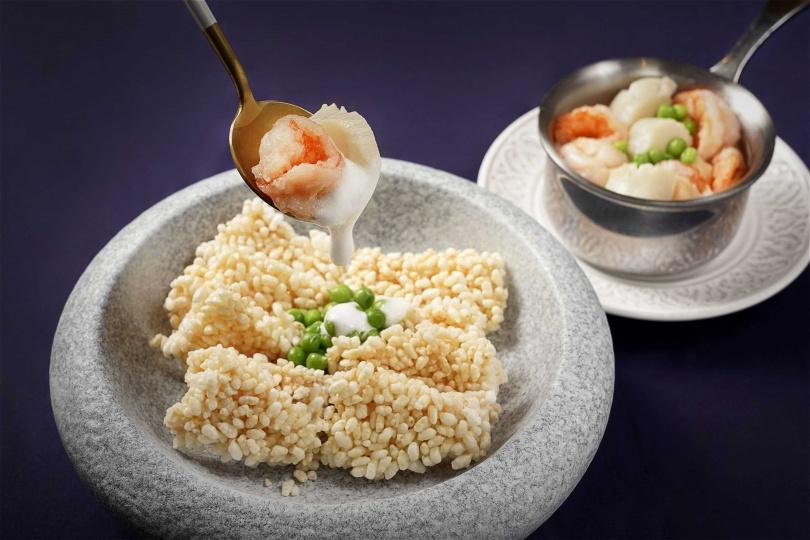 「白霜輕覆帶子蝦」。(圖/THE上海提供)