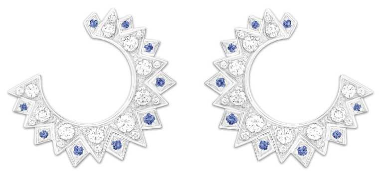 PIAGET「Sunlight」系列,18K白金藍寶石及鑽石耳環╱250,000元。(圖╱PIAGET提供)